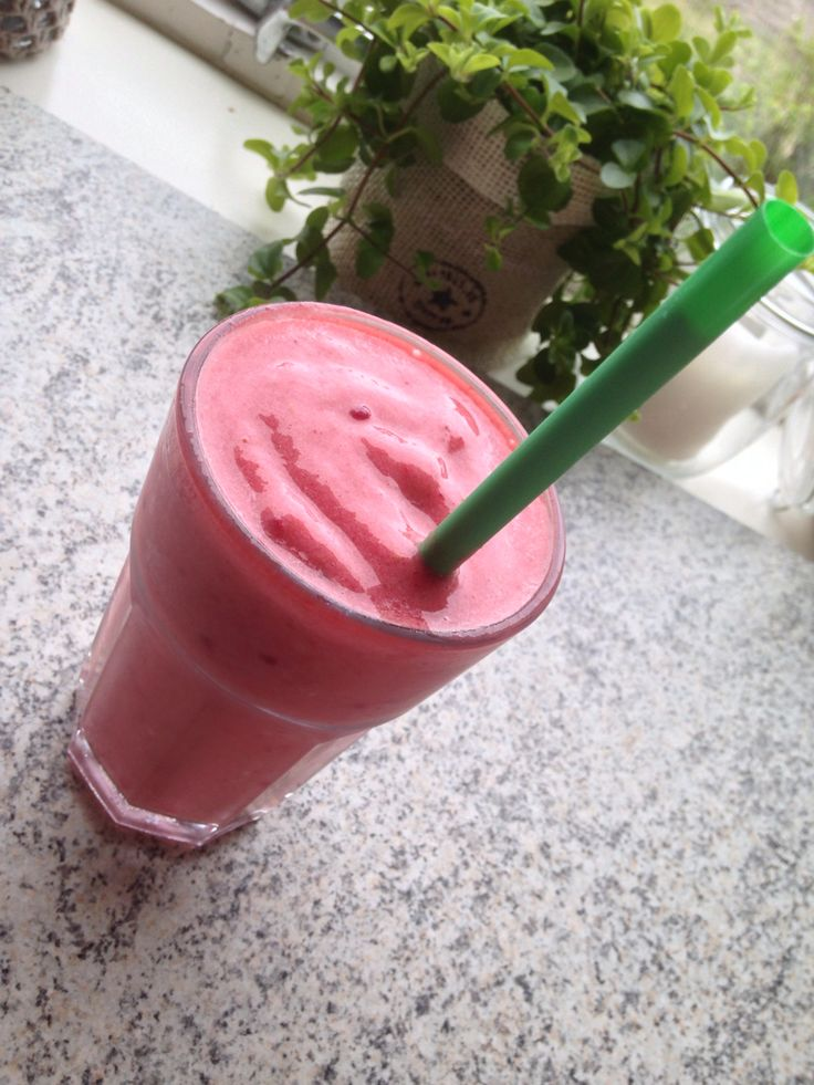 Smoothie with watermelon, banana, raspberries and juice.