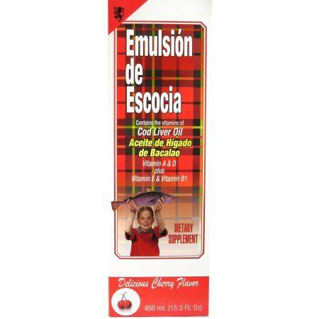 Emulsion Escosia 15.3 oz Cherry Cod Liver Fish Oil Aceite De Higado Bacalao
