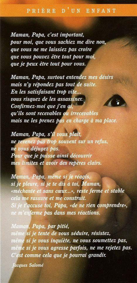 prière de l'enfant à ses parents