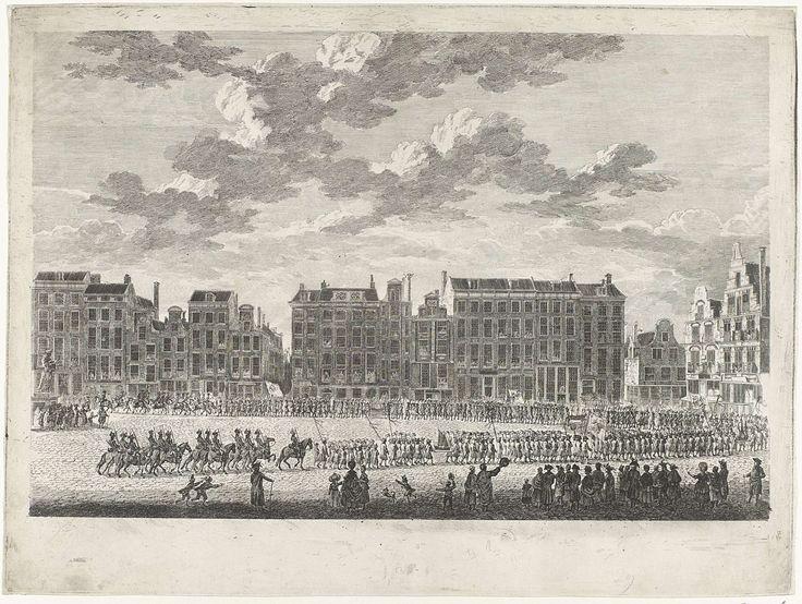 Gerrit Groenewegen | Optocht van de scheepstimmerlieden te Rotterdam, 1788, Gerrit Groenewegen, 1788 | Plechtige optocht van de scheepstimmerlieden op de Grote Markt te Rotterdam, ter gelegenheid van de veertigste verjaardag van prins Willem V op 8 maart 1788.