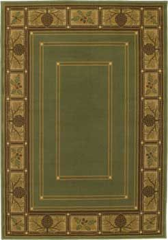 Bungalow-Evergreen rug. This rug draws on Arts and Crafts design style, for a comfortable, clean look. The colors include beige, golden camel, chocolate brown and green.