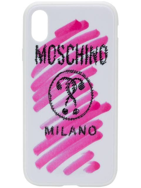 buy online 9a5a8 a6d4c Moschino Logo Print iPhone XR Case in 2019 | Unusual i Phone Case ...
