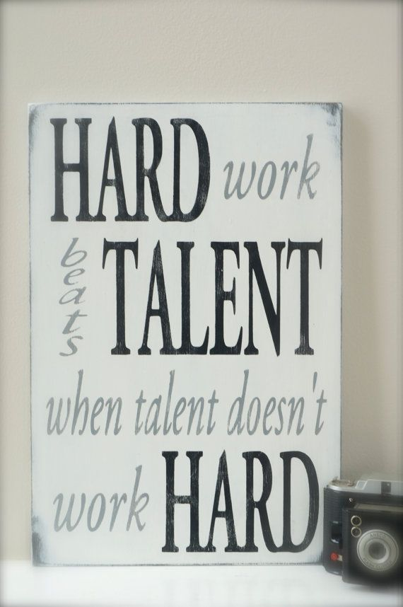 Hard Work Beats Talent Quote Sign by InMind4U