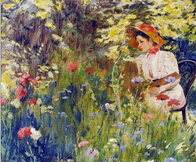 Pintando en el Jardín - Pedro Lira