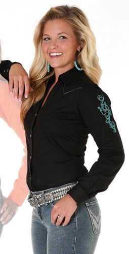 Womens Wrangler Black Turquoise Embroidered Snap Shirt