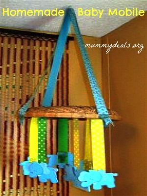 Homemade Baby Mobile from #mummydeals it's cheap, easy and cute! #babymobile