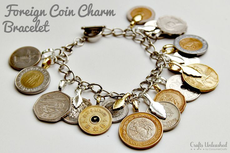 If you have a lot of foreign coins laying around from past trips, upcycle them into a fun DIY charm bracelet! Keep reading for the how-to.