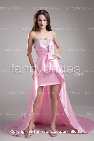 Gorgeous Crystal Pink With Bow Petite Prom Dress - Fannybrides.com