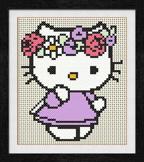 """Gráfico para punto de cruz de """"Hello Kitty con adorno de flores""""."""