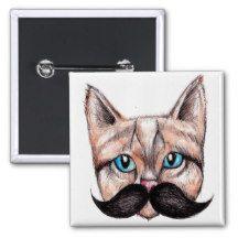 Smart Cat 15 Cm Square Badge