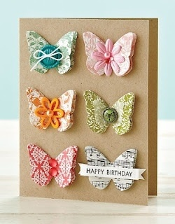 handcrafted birthday card ... kraft base ... pretty butterflies arranged in a 2X3 grid ... punched of patterned paper ... great for scraps ... like the use of various embellishements for the bodies ... like this card!! ... Stampin' Up!