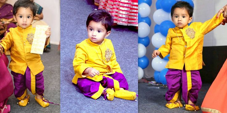 Here s the lil one Sushanth celebrated his D day with in yellow s exclusive Kurta Dhoti and shoes . You look amazingly cute sweet heart :*  01 December 2016
