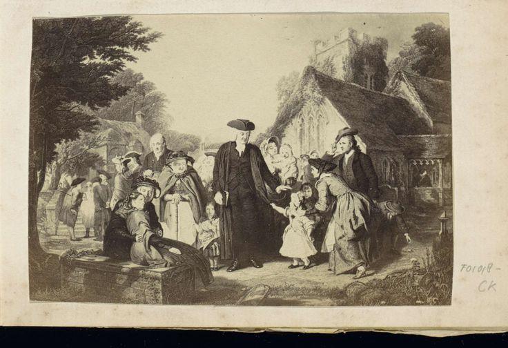 Anonymous | Fotoreproductie van een prent van een begroetingstafereel bij een kerkje op het platteland, Anonymous, c. 1860 - c. 1870 | Onderdeel van Engels familiealbum met foto's van personen, reizen, cricket en kunstwerken.