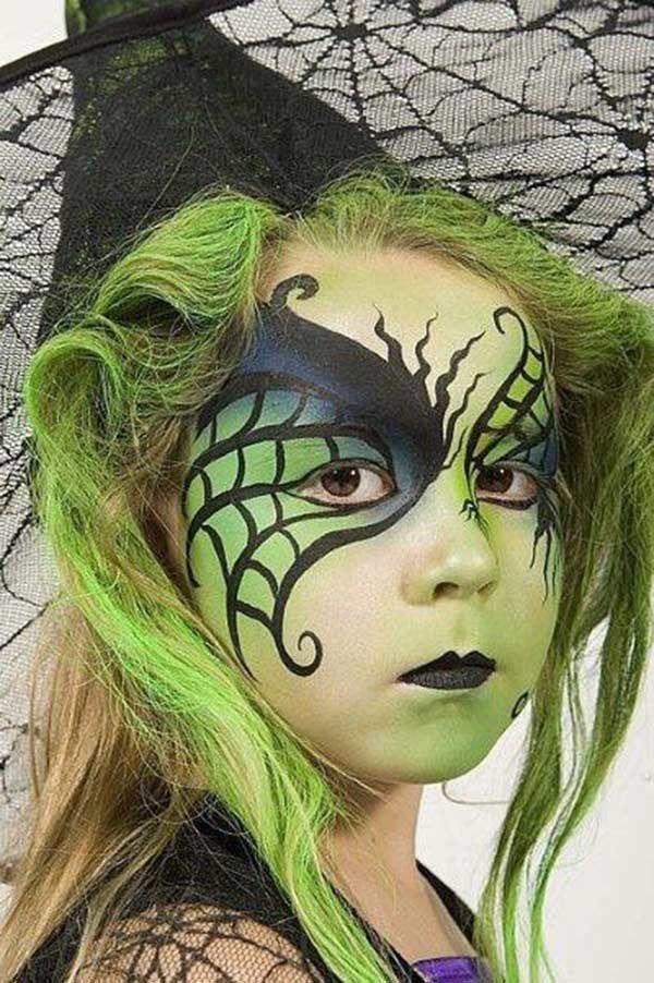 Cómo hacer un maquillaje de bruja para Halloween paso a paso. Maquillaje infantil de bruja, ideas para un maquillaje de Halloween para niñas.