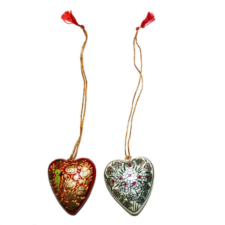 Hand-painted Papier-mâché Christmas Ornaments from India: Hearts-pack1