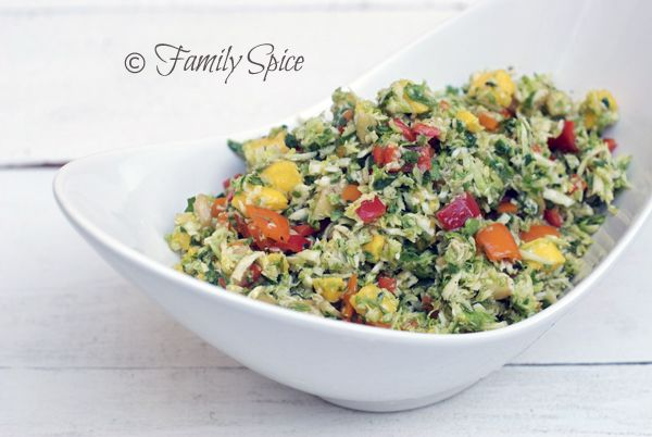 Tropical Brussels Sprout Salad with Mango & Feijoa