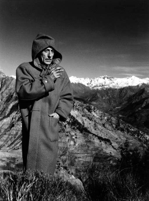 """Jean Cocteau on the set of """"L'aigle à deux têtes""""  France 1947  -  Raymond Voinquel"""