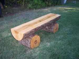 log bench for the fire pit.  (Picture only.)