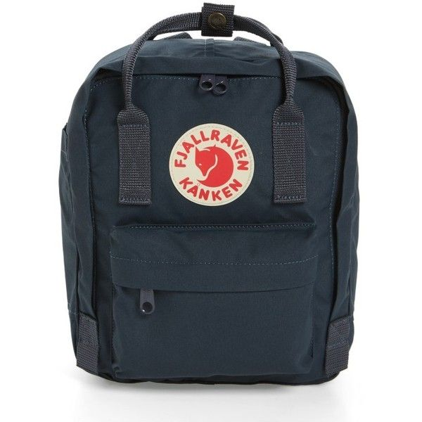 Women's Fjallraven 'Mini Kanken' Water Resistant Backpack ($65) ❤ liked on Polyvore featuring bags, backpacks, navy, navy blue backpack, navy backpack, navy bag, blue backpack and mini backpack