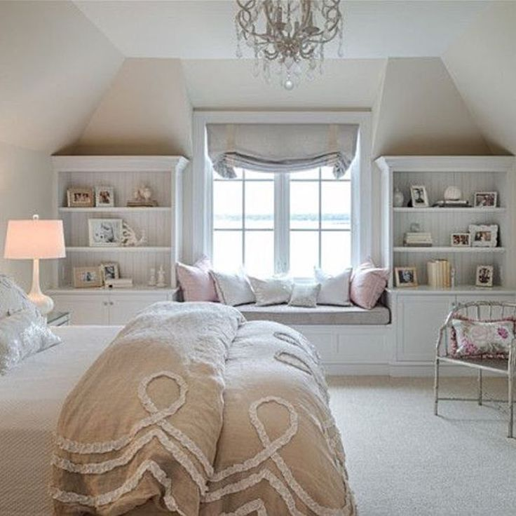 Bedroom in the eaves. Lovely soft palette.