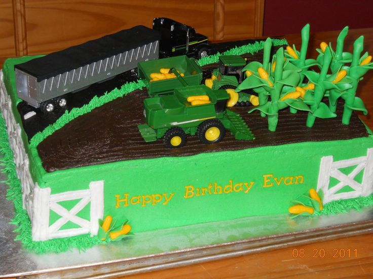 John Deere Birthday Corn stalks are fondant covered lollipop sticks. Combine, tractor, buggy & semi provided by the birthday boy....