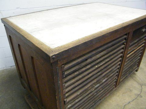Columbus Architectural Salvage   Vintage Printeru0027s Work Table..This Would  Make An Amazing Kitchen Island In An Industrial Loft!