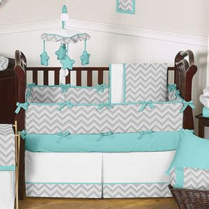 Gray and Turquoise Chevron Zig Zag Baby Bedding - 9 pc Crib Set by Sweet Jojo Designs only $189.99