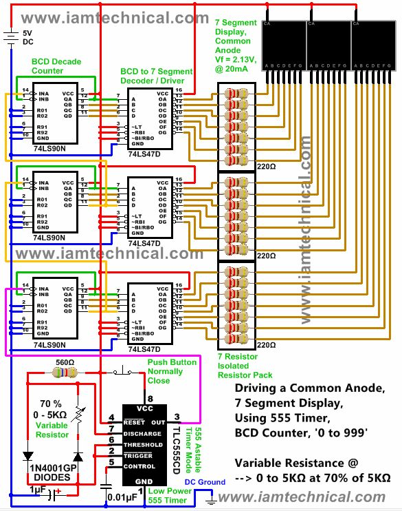 """Digital Counter """"0 to 999"""", Driving a Common Anode, Seven Segment Display Using 555 Timer, 74LS90 BCD Decade Counter"""