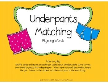 Underpants Matching: A Rhyming Game features cute underpants and is the perfect companion to the book Aliens Love Underpants. To play students shuffle cards and lay out on desk/floor upside down. Students take turns turning over cards trying to find a rhyming pair.