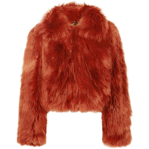 Maison Margiela Faux fur jacket (€1.640) ❤ liked on Polyvore featuring outerwear, jackets, red faux fur jacket, hounds tooth jacket, red jacket, collar jacket and tailored jacket