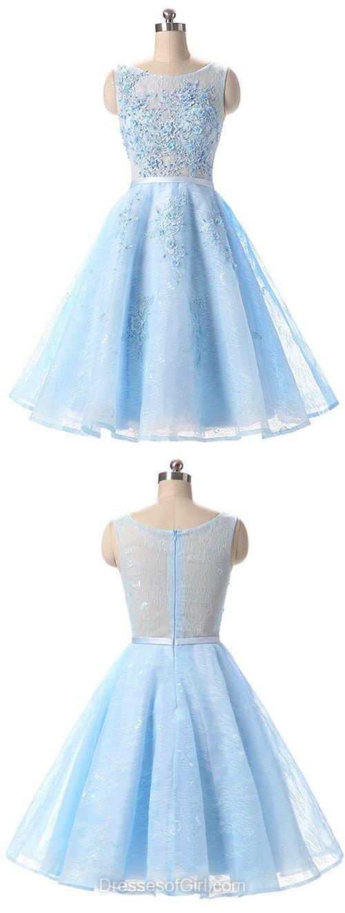 Short Prom Dress, Lace Prom Dresses, Princess Homecoming Dress, Cheap Homecoming Dresses, Blue Cocktail Dress