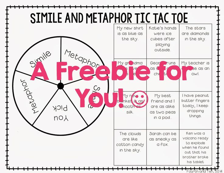 """FREE Simile and Metaphor Tic Tac Toe! Let your students have fun while mastering these common core concepts....Follow for Free """"too-neat-not-to-keep"""" teaching tools & other fun stuff :)"""