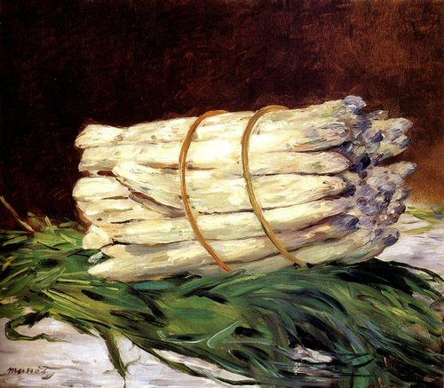 """A Bunch of Asparagus"" 1880 painting by Edouard Manet (white asparagus)"