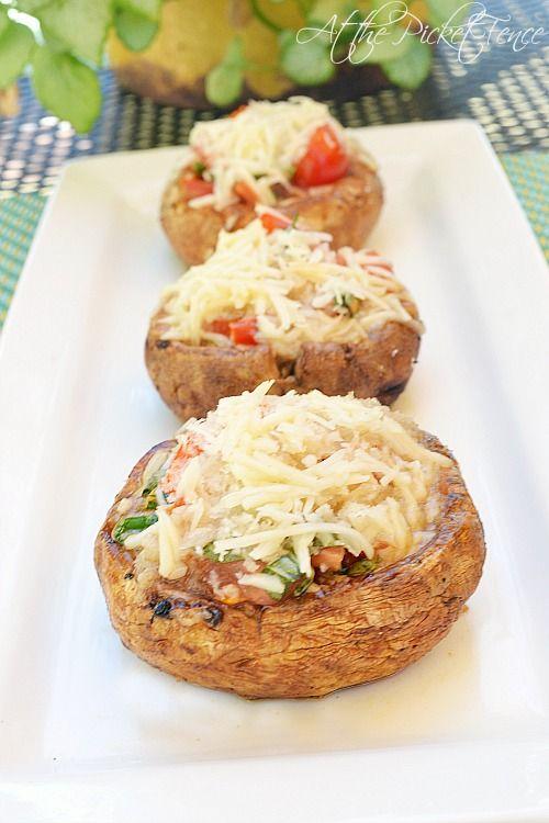 Bruschetta Grilled Stuffed Mushrooms
