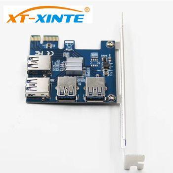 XT-XINTE Riser Card PCI-E USB 3.0 PCIe Port Multiplier Card PCI Express PCIe 1 to 4 PCI-E to PCI-E for BTC Miner Machine  Price: 37.75 USD
