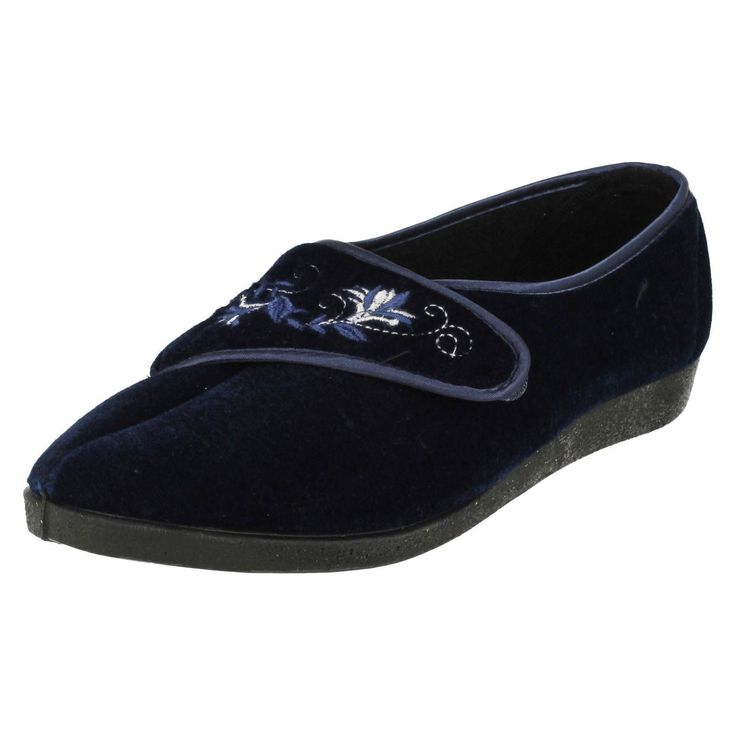 Ladies Four Seasons Navy Slippers Style Mary