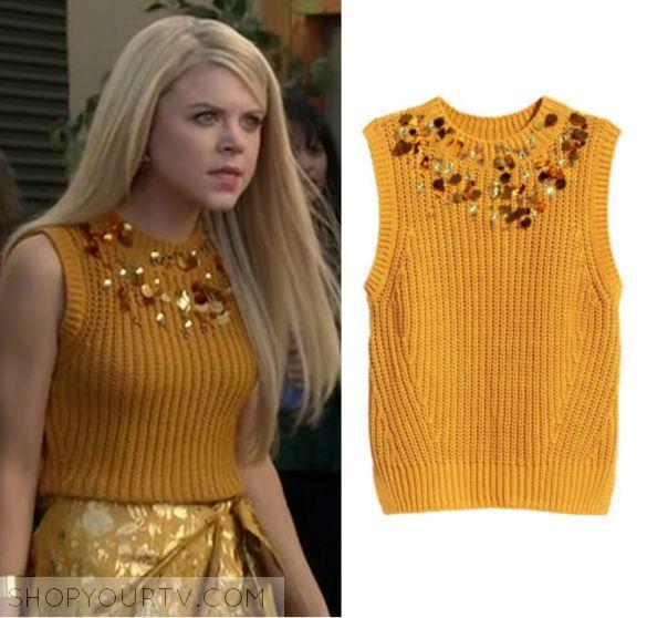 Faking It: Season 3 Episode 8 Lauren's Yellow Embellished Sleeveless Sweater