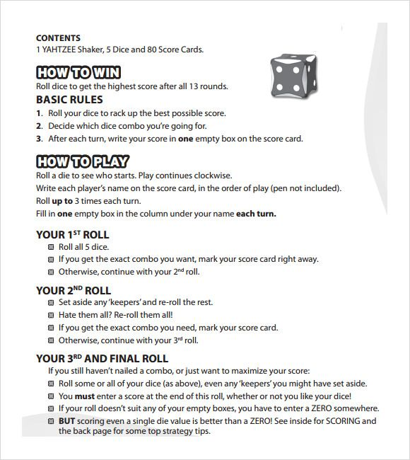 Exhilarating image intended for yahtzee rules printable