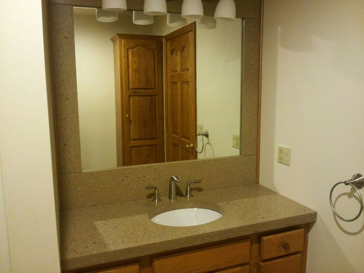 This Is A Bathroom Concrete Countertop With Concrete Back