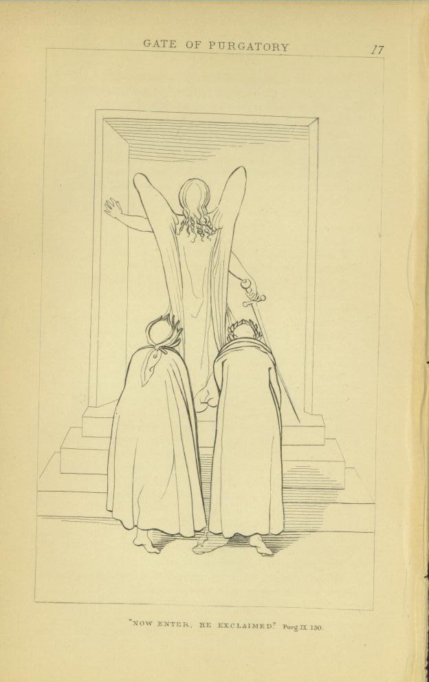 1857 JOHN FLAXMAN STEEL ENGRAVING DANTE GATE OF PURGATORY