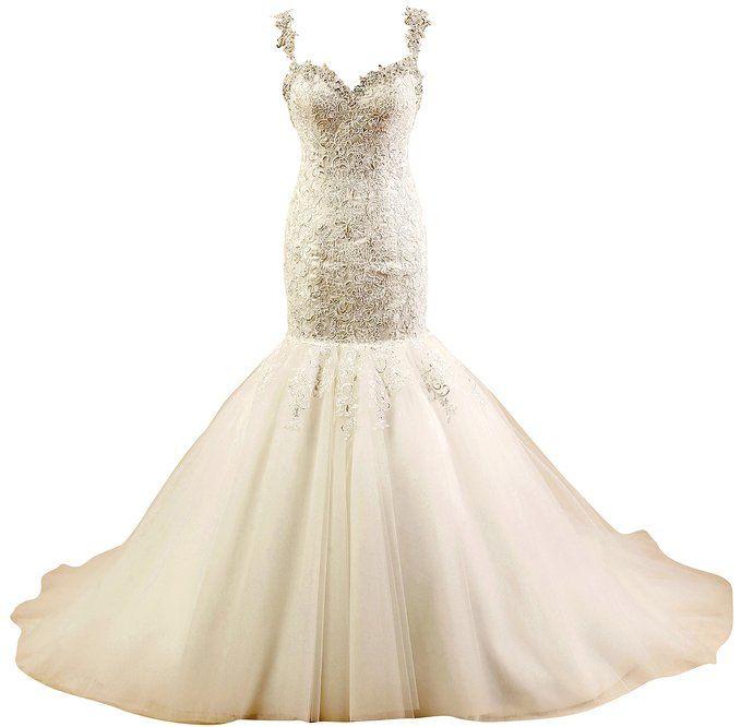Sexy Mermaid Wedding Dress,Handmade Cyrstal/Beading Tulle Bridal Dress,White/Ivory Wedding Dress,Elegant Women's 2015 New Mermaid Spaghetti Lace Tulle Wedding Dresses for Bride