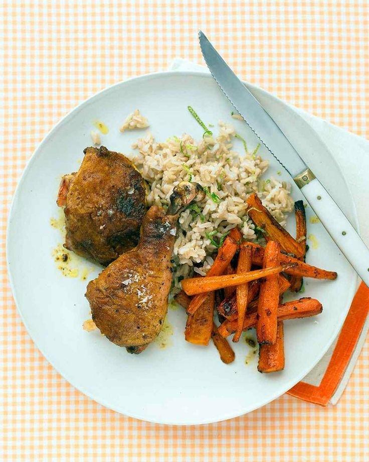 Curried chicken legs - In this tasty low FODMAP chicken recipe, lime zest adds fragrance to rice, while lime juice gives carrots a citrus kick.