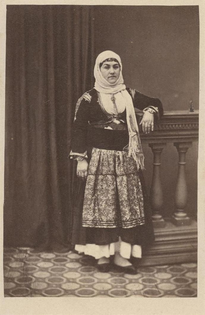 Woman wearing a traditional costume from Megara Greece. late 19th