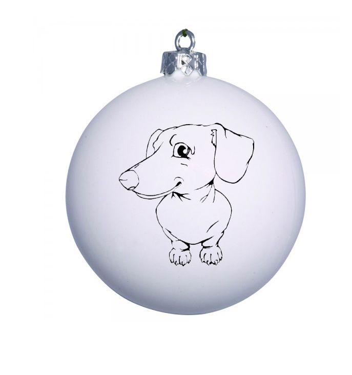 White Christmas bauble with cute Dachshund design. Ad a name on each bauble for FREE!