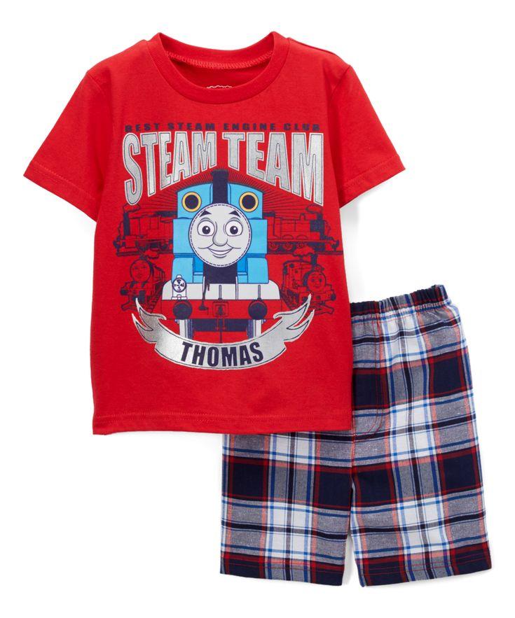 Red & Blue Plaid Thomas the Train Set - Toddler