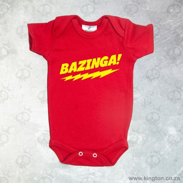 Bazinga - Red babygrow with yellow #Bazinga lettering. #KingtonKustomKulture