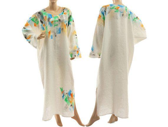 Boho artsy long linen dress caftan white maxi von classydress