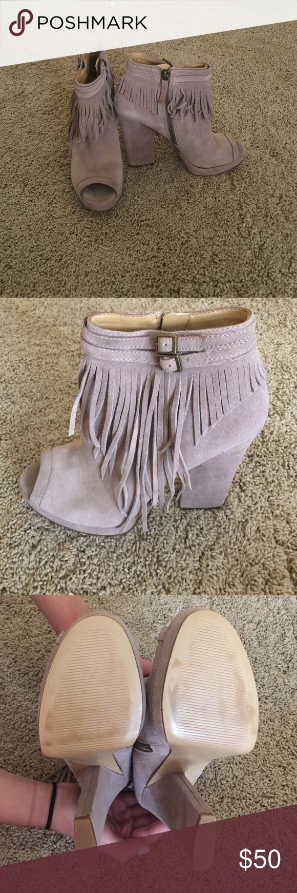 Nine West heels with fringe! So cute! Size 7.5. Nine West heels with fringe. In the color taupe. Size 7.5. In almost brand new condition! Nine West Shoes Heels