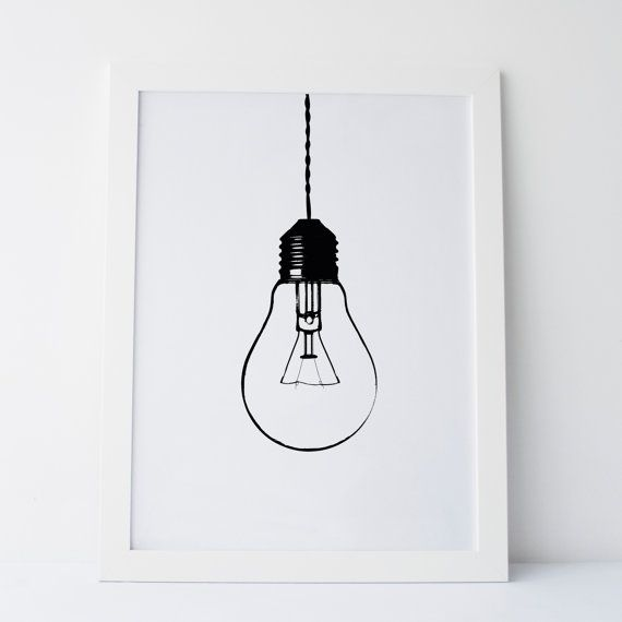 Printable Art Light Bulb Print Light Bulb by ElemenopeeDesignCA
