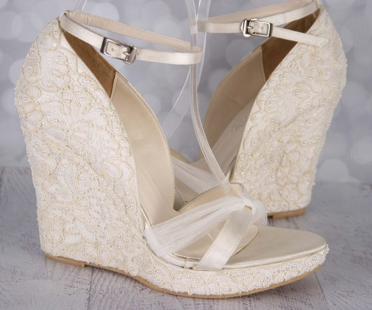 The 25 best Wedding shoes lace wedges ideas on Pinterest